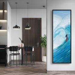 Framed 20 x 60 - Surfer on a big wave