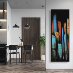Framed 20 x 60 - Abstract and colorful tall buildings