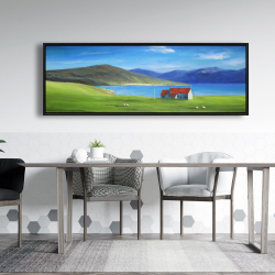 Framed 20 x 60 - Scottish highlands with a little red roof house