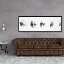 Framed 20 x 60 - Black and white eclipse