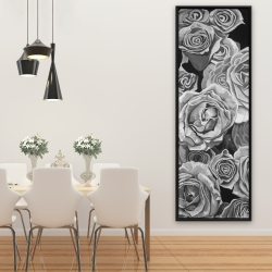 Framed 20 x 60 - Grayscale roses