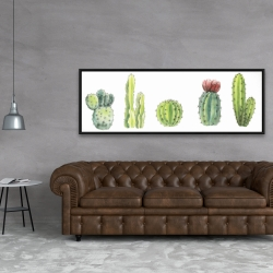 Framed 20 x 60 - Tiny cactus set