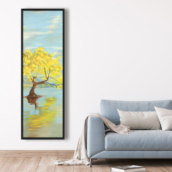 Framed 20 x 60 - Spring lanscape with a tree in a lake