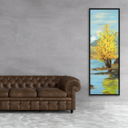 Framed 20 x 60 - Lake landscape with a tree and reflection