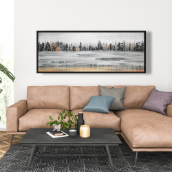 Framed 20 x 60 - Fall rainy day landscape with trees