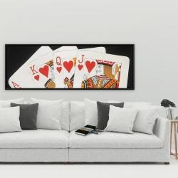 Framed 20 x 60 - Heart royal flush closeup