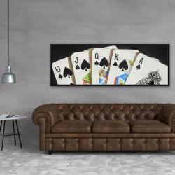 Framed 20 x 60 - Card game spades royal flush closeup