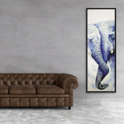 Framed 20 x 60 - Elephant couple loving each other