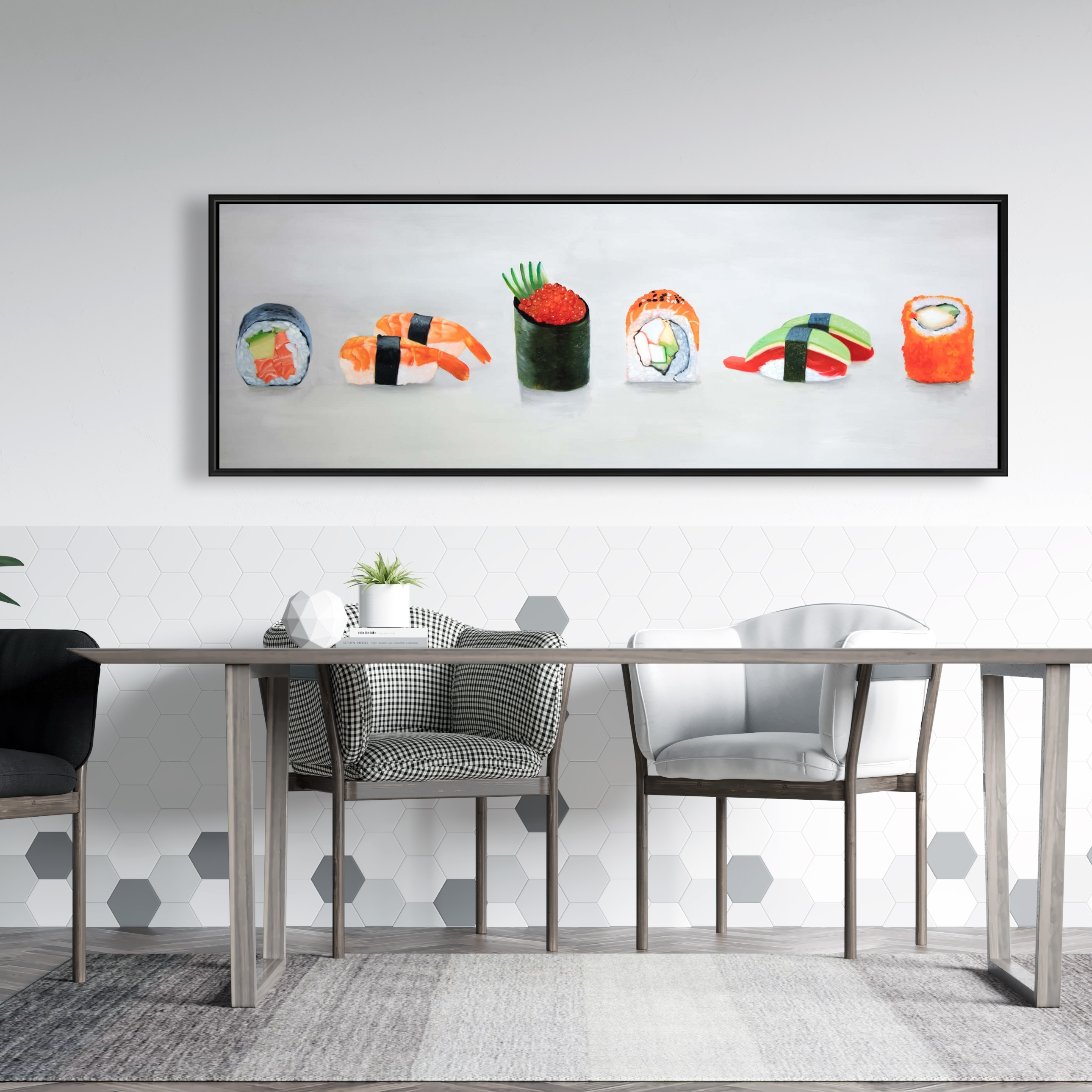 Framed 20 x 60 - Six pieces sushi assortment