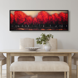 Framed 20 x 60 - Red trees by a dark day