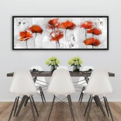 Framed 20 x 60 - Red flowers