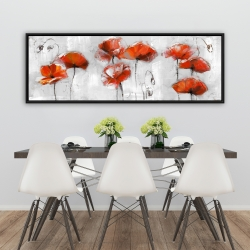 Framed 20 x 60 - Red flowers
