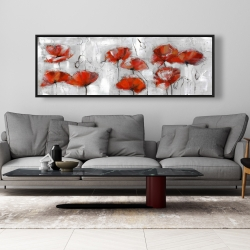 Framed 20 x 60 - Abstract poppies