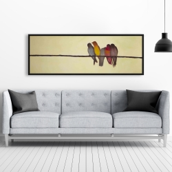 Framed 20 x 60 - Five birds on a branch