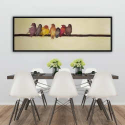 Framed 20 x 60 - Bird family