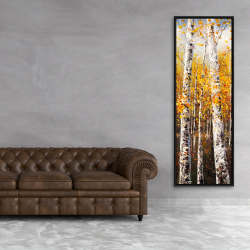 Framed 20 x 60 - Birches by sunny day