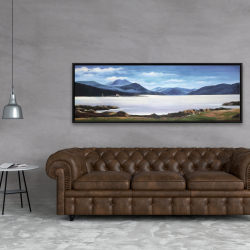 Framed 20 x 60 - Scottish highlands by a beautiful day