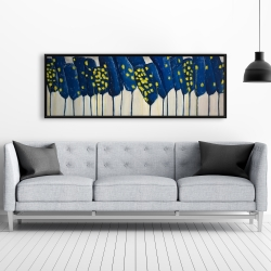 Framed 20 x 60 - Abstract blue flowers