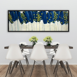 Framed 20 x 60 - Abstract blue and yellow flowers