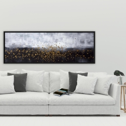 Framed 20 x 60 - Gold paint splash on gray background