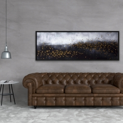 Framed 20 x 60 - Two shades of gray with gold dots