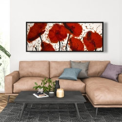 Framed 20 x 60 - Abstract paint splash red flowers