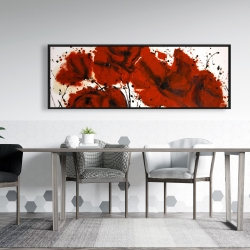 Framed 20 x 60 - Abstract red flowers field