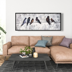 Framed 20 x 60 - Colorful birds on branches