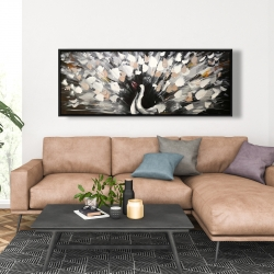 Framed 20 x 60 - Spotted abstract peacock