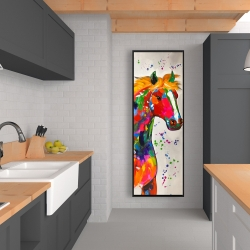 Framed 20 x 60 - Abstract colorful horse with paint splash