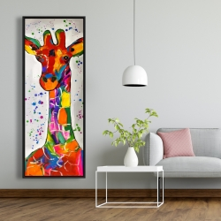 Framed 20 x 60 - Abstract colorful giraffe with paint splash