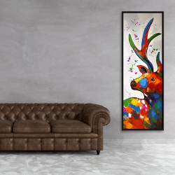Framed 20 x 60 - Abstract colorful deer with paint splash