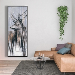 Framed 20 x 60 - Deer in the forest by a rainy day