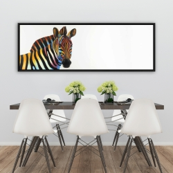 Framed 20 x 60 - Colorful profile view of a zebra