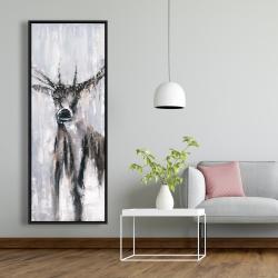 Framed 20 x 60 - Winter abstract deer