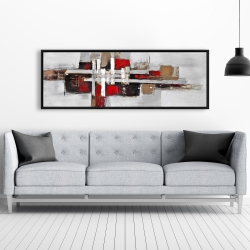 Framed 20 x 60 - Abstract shapes with red accents