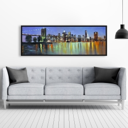 Framed 20 x 60 - Colorful city with a bridge by night