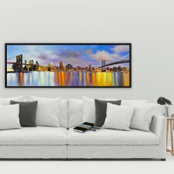 Framed 20 x 60 - Colorful city with a bridge by day