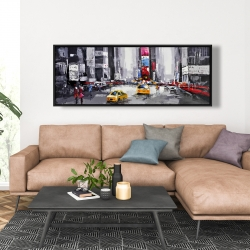 Framed 20 x 60 - Abstract street with yellow taxis
