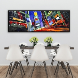 Framed 20 x 60 - Colorful times square by night