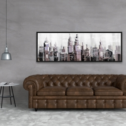 Framed 20 x 60 - Abstract grayscale cityscape