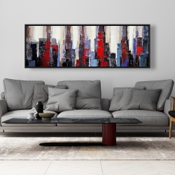 Framed 20 x 60 - Abstract red and blue buildings