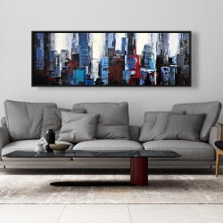 Framed 20 x 60 - Abstract blue city