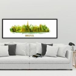 Framed 20 x 60 - Paint splash silhouette of bristol
