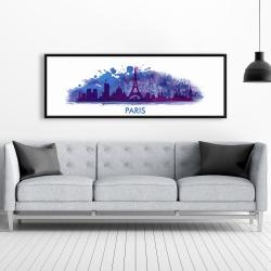 Framed 20 x 60 - Paint splash silhouette of paris
