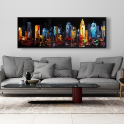 Framed 20 x 60 - Colorful abstract cityscape on a dark background