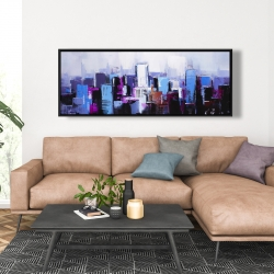 Framed 20 x 60 - Abstract blue & purple city