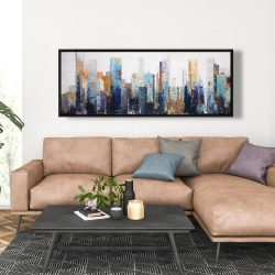 Framed 20 x 60 - Texturized abstract city