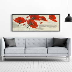 Framed 20 x 60 - Abstract red flowers in the wind