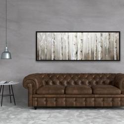 Framed 20 x 60 - White birches on gray background